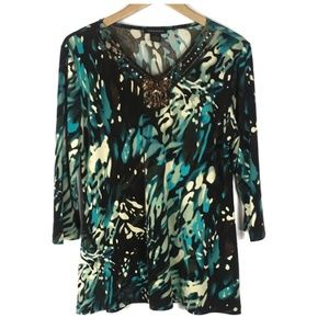 Susan Lawrence Green Tunic Blouse Sequins XL